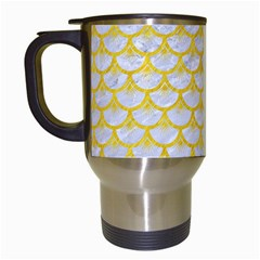 Scales3 White Marble & Yellow Colored Pencil (r) Travel Mugs (white) by trendistuff