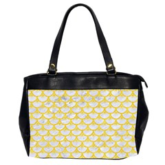 Scales3 White Marble & Yellow Colored Pencil (r) Office Handbags (2 Sides)  by trendistuff