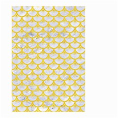 Scales3 White Marble & Yellow Colored Pencil (r) Small Garden Flag (two Sides) by trendistuff