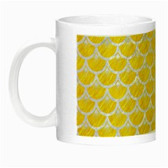 Scales3 White Marble & Yellow Colored Pencil Night Luminous Mugs by trendistuff