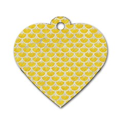 Scales3 White Marble & Yellow Colored Pencil Dog Tag Heart (two Sides)