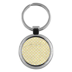 Scales2 White Marble & Yellow Colored Pencil (r) Key Chains (round)  by trendistuff