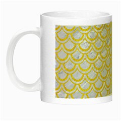 Scales2 White Marble & Yellow Colored Pencil (r) Night Luminous Mugs by trendistuff