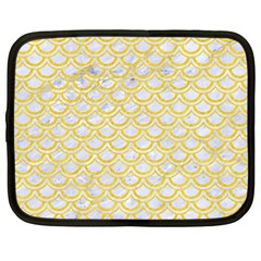 Scales2 White Marble & Yellow Colored Pencil (r) Netbook Case (large) by trendistuff