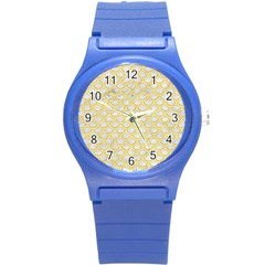 Scales2 White Marble & Yellow Colored Pencil (r) Round Plastic Sport Watch (s) by trendistuff