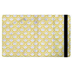 Scales2 White Marble & Yellow Colored Pencil (r) Apple Ipad Pro 9 7   Flip Case by trendistuff