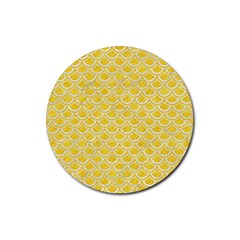 Scales2 White Marble & Yellow Colored Pencil Rubber Round Coaster (4 Pack)  by trendistuff