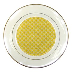 Scales2 White Marble & Yellow Colored Pencil Porcelain Plates by trendistuff