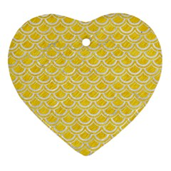 Scales2 White Marble & Yellow Colored Pencil Heart Ornament (two Sides) by trendistuff