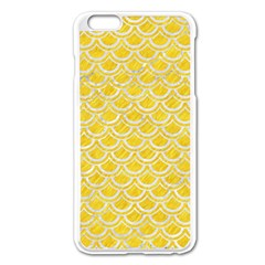 Scales2 White Marble & Yellow Colored Pencil Apple Iphone 6 Plus/6s Plus Enamel White Case by trendistuff