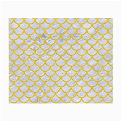 Scales1 White Marble & Yellow Colored Pencil (r) Small Glasses Cloth (2 Side) by trendistuff