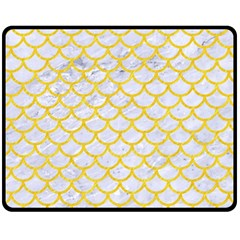 Scales1 White Marble & Yellow Colored Pencil (r) Fleece Blanket (medium)  by trendistuff