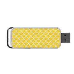 Scales1 White Marble & Yellow Colored Pencil Portable Usb Flash (one Side) by trendistuff