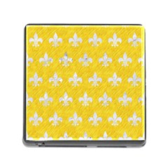 Royal1 White Marble & Yellow Colored Pencil (r) Memory Card Reader (square) by trendistuff