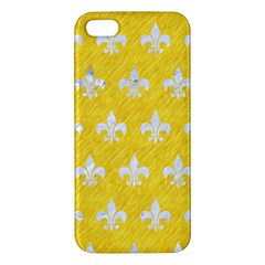 Royal1 White Marble & Yellow Colored Pencil (r) Apple Iphone 5 Premium Hardshell Case by trendistuff