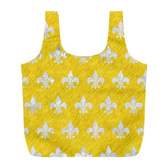 Royal1 White Marble & Yellow Colored Pencil (r) Full Print Recycle Bags (l)  by trendistuff