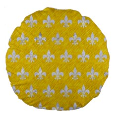 Royal1 White Marble & Yellow Colored Pencil (r) Large 18  Premium Flano Round Cushions by trendistuff