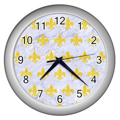Royal1 White Marble & Yellow Colored Pencil Wall Clocks (silver)  by trendistuff
