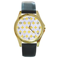 Royal1 White Marble & Yellow Colored Pencil Round Gold Metal Watch by trendistuff