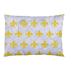 Royal1 White Marble & Yellow Colored Pencil Pillow Case by trendistuff