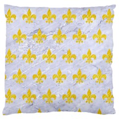Royal1 White Marble & Yellow Colored Pencil Large Cushion Case (two Sides)