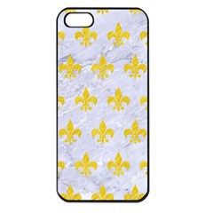 Royal1 White Marble & Yellow Colored Pencil Apple Iphone 5 Seamless Case (black) by trendistuff