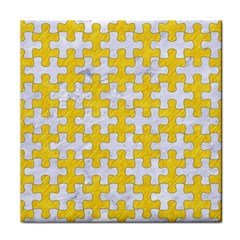 Puzzle1 White Marble & Yellow Colored Pencil Tile Coasters