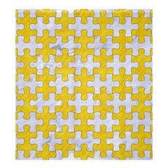 Puzzle1 White Marble & Yellow Colored Pencil Shower Curtain 66  X 72  (large)  by trendistuff
