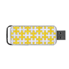 Puzzle1 White Marble & Yellow Colored Pencil Portable Usb Flash (one Side) by trendistuff