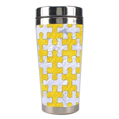 Puzzle1 White Marble & Yellow Colored Pencil Stainless Steel Travel Tumblers by trendistuff