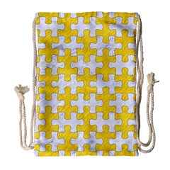 Puzzle1 White Marble & Yellow Colored Pencil Drawstring Bag (large) by trendistuff