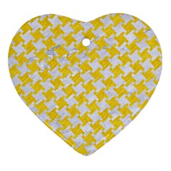 Houndstooth2 White Marble & Yellow Colored Pencil Ornament (heart) by trendistuff