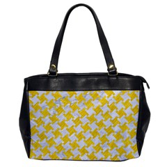 Houndstooth2 White Marble & Yellow Colored Pencil Office Handbags by trendistuff