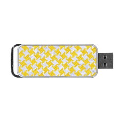 Houndstooth2 White Marble & Yellow Colored Pencil Portable Usb Flash (one Side) by trendistuff