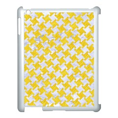 Houndstooth2 White Marble & Yellow Colored Pencil Apple Ipad 3/4 Case (white) by trendistuff