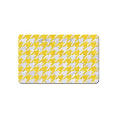 Houndstooth1 White Marble & Yellow Colored Pencil Magnet (name Card) by trendistuff