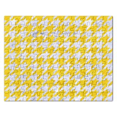 Houndstooth1 White Marble & Yellow Colored Pencil Rectangular Jigsaw Puzzl by trendistuff