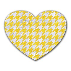 Houndstooth1 White Marble & Yellow Colored Pencil Heart Mousepads by trendistuff