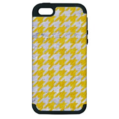 Houndstooth1 White Marble & Yellow Colored Pencil Apple Iphone 5 Hardshell Case (pc+silicone) by trendistuff