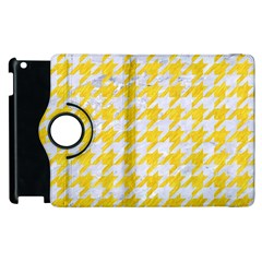 Houndstooth1 White Marble & Yellow Colored Pencil Apple Ipad 3/4 Flip 360 Case by trendistuff