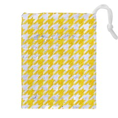 Houndstooth1 White Marble & Yellow Colored Pencil Drawstring Pouches (xxl) by trendistuff