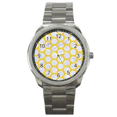 Hexagon2 White Marble & Yellow Colored Pencil (r) Sport Metal Watch by trendistuff