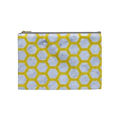 Hexagon2 White Marble & Yellow Colored Pencil (r) Cosmetic Bag (medium)  by trendistuff