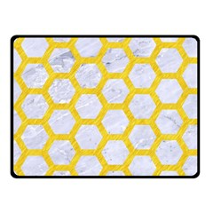 Hexagon2 White Marble & Yellow Colored Pencil (r) Fleece Blanket (small) by trendistuff