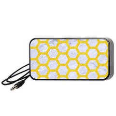 Hexagon2 White Marble & Yellow Colored Pencil (r) Portable Speaker by trendistuff
