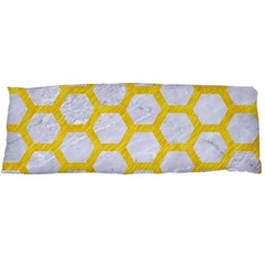 Hexagon2 White Marble & Yellow Colored Pencil (r) Body Pillow Case (dakimakura) by trendistuff