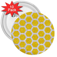 Hexagon2 White Marble & Yellow Colored Pencil 3  Buttons (10 Pack)  by trendistuff