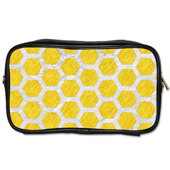 Hexagon2 White Marble & Yellow Colored Pencil Toiletries Bags