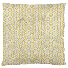 Hexagon1 White Marble & Yellow Colored Pencil (r) Standard Flano Cushion Case (one Side) by trendistuff