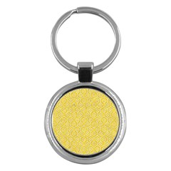 Hexagon1 White Marble & Yellow Colored Pencil Key Chains (round)  by trendistuff